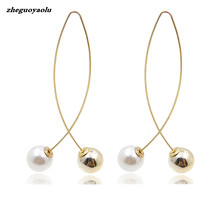 2018 New Cross Imitation Pearl Earrings Long Simple Fashion Earrings Women Wedding Jewelry Boucles D'oreilles Pour Les Femmes(China)