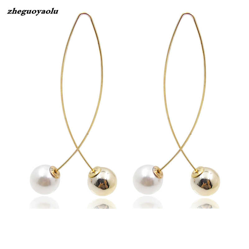 2018 New Cross Imitation Pearl Earrings Long Simple Fashion Earrings Women Wedding Jewelry Boucles D'oreilles Pour Les Femmes