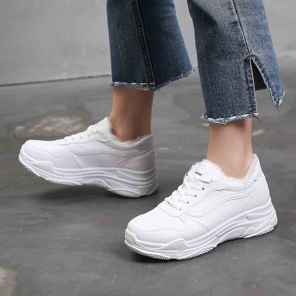 Vogue Sneakers Femmes Chaussures de Nice Casual Lady Chaussures Lace Up Peluche Velours Haute Plate-Forme Sneakers Zapatillas Mujer