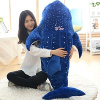 New Cute Large 1pcs 150cm Whale Shark Plush Toy Cartoon Doll Soft Stuffed Animals Cushion Child Pillow 3 Colors Kids Toy Gifts