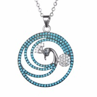 KIVN Luxury Peacock Plated Silver Plated Chain Necklaces Pendants For Women Lady Girl Chocker Jewelry