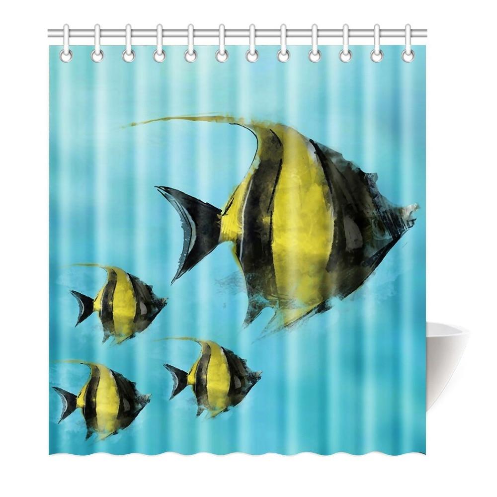 Ocean shower curtains - Custom Blue Ocean Tropical Fish Coral Undersea World Waterproof Fabric Bathroom Shower Curtain