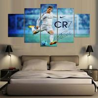 5 Panel Canvas Printed Real Madrid Ronaldo Painting For Living Picture Wall Art HD Print Decor