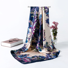 Silk Scarf Women Large Square Satin Hair Scarf 90cm Inches Head Scarves Hijab Luxury Brand Printed Travel Scarf Shawl for Woman