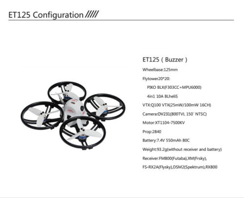 JMT ET125 PNP  FPV Brushless Remote Control Racing Drone Mini Helicopters Flysky Futaba Receiver Accessory