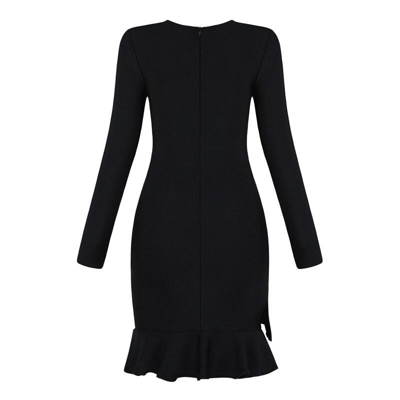 O Qualità Buona Fasciatura Di Nero Clubwear Lunghe Celebrità Autunno Maniche Aderente Abiti 2018 Dalla Elegante A Vestito Increspature Collo F7OTWcU