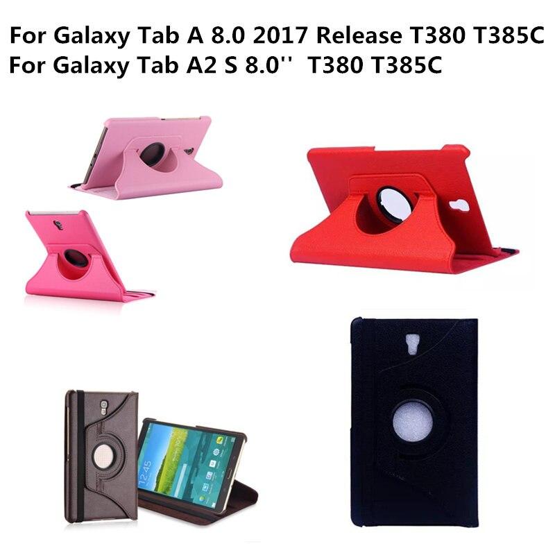 Чехол для Tab A2 S sm-t380 t385c 360 градусов вращающийся PU кожаный чехол для Samsung Galaxy Tab 8.0 2017 sm-t380 T385 Folio ...