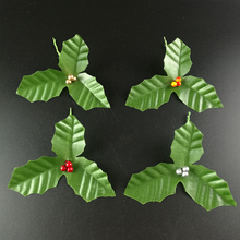 Artificial Leaf  + Artificial Holly Berries for Wedding Party Home Decoration DIY Christmas Artificial Leaf Flower Silk Leaves