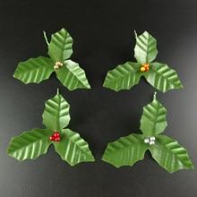Искусственный лист + Искусственные ягоды Холли для свадебной вечеринки, украшение дома, сделай сам, рождественские искусственные листья, ше...
