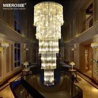 Modern Long Ceiling Light Fixture G9 Glass Lustres De Cristal Luxury Lighting Stair Lamp For Hotel