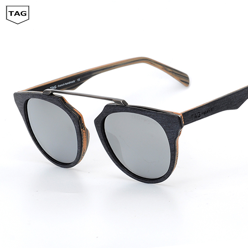2019 TAG wood sun glasses men women round polarized sunglasses Wood grain Retro fashion Driving the