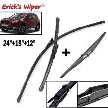 "Ericks Wiper Front & Rear Wiper Blades Set For Nissan Qashqai J10 2006 2013 Windshield Windscreen Front Rear Window 24""+15""+12"""