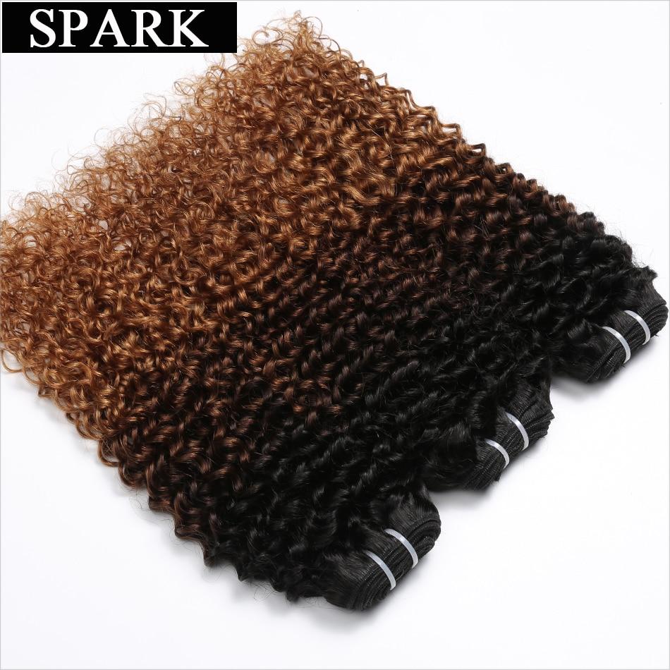 Spark Ombre Brazilian Kinky Curly Hair 100 Human Hair Weave 3 Bundles Lot Machine Double Weft