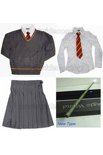 Free Shipping Harry Gryffindor Hermione Cosplay Skirt Uniform Glowing Magic Wand Custom Made for Halloween and Christmas