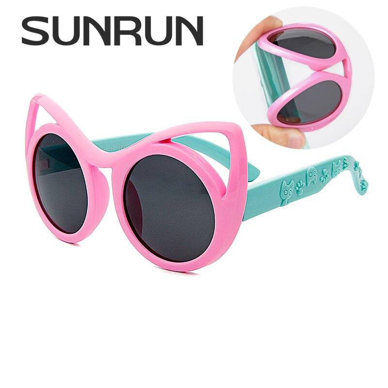 11335ab3dda2 SUNRUN Fashion Cat Eye Kids Sunglasses Boys Girls Cool Polarized Sun  Glasses Children Goggles UV400 Protection