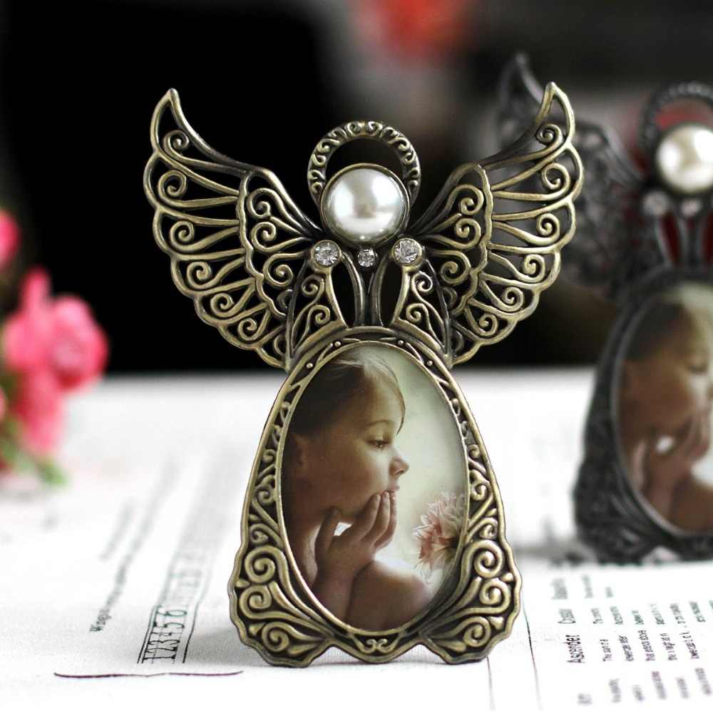 Metal Mini Pearl Photo Frames,Vintage Picture Frames Oval,Angel Wings Baby Photo Frame Home Decoration Porta Retrato Ramki Foto