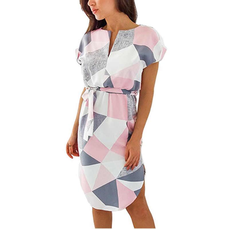 2019 幾何学プリントドレスバットウィング半袖夏の女性のビーチサンドレスチュニック包帯ボディコンドレスカジュアルミディパーティードレス