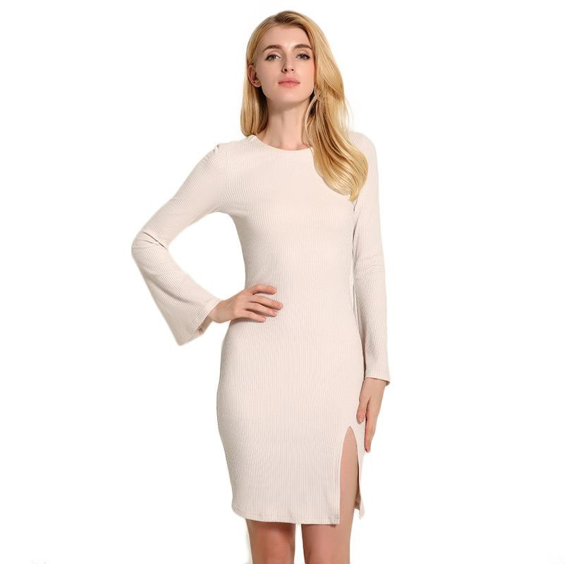 Autumn Casual Bodycon Dress Sweater Dresses Long Sleeve Sexy Party Knitted Dress Plus Size LJ5555E