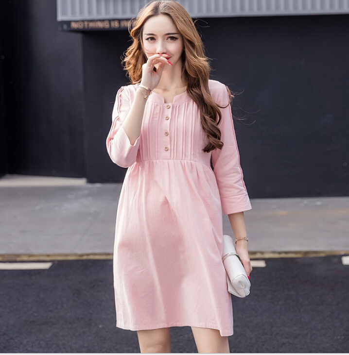 2018 Summer new Pure cotton womens maternity dress pleated pregnant women dress wear Maternity breathable clothes