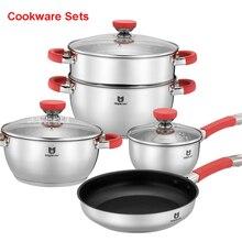 Algemene familie roestvrij staal potten en pannen Huishoudelijke artikelen set potten siliconen pannen anti-hot set van hoge kwaliteit keukengerei