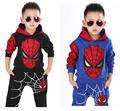 2 pcs novos meninos crianças da criança do bebê crianças spiderman super hero cosplay halloween costume top hoodies + calças calças roupas conjunto