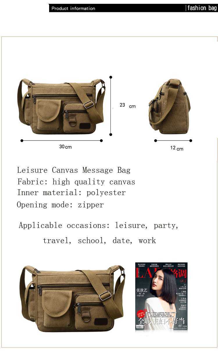 ba6a863121 Fashion Winter New Men s Canvas Single Shoulder Slant Message Bag Large  Capacity Business Leisure Outdoor Message Bag
