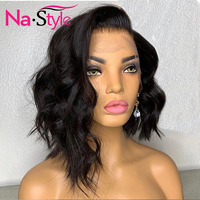 Short Bob Water Wave Lace Front Wig PrePlucked Pixie Cut Wig 13x6 Lace Frontal Natural Lace Front Human Hair Wigs For Women Remy