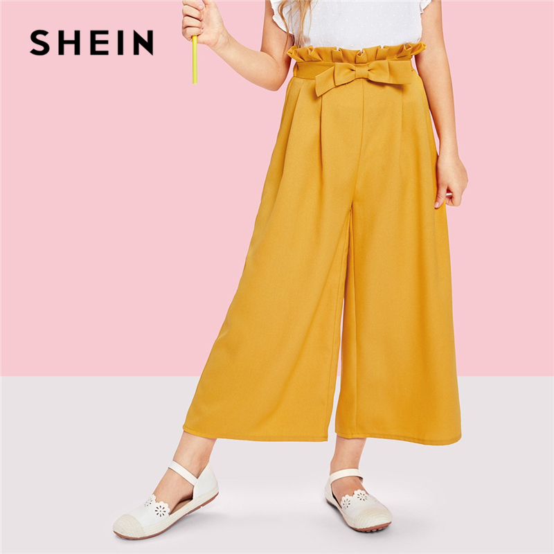 SHEIN Kiddie Ginger Solid Bow Front Elastic Waist Cute Girls Pants Kids 2019 Spring Wide Leg Casual Trousers Frill Leggings scallop hem tie waist wide leg pants