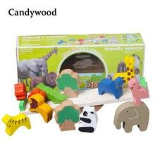 Деревянные игрушки лесные животные Seesaw Деревянный Баланс блоки деревянная игра «Дженга» блоки Развивающие игрушки Детские обучающие игры игрушки для мальчиков