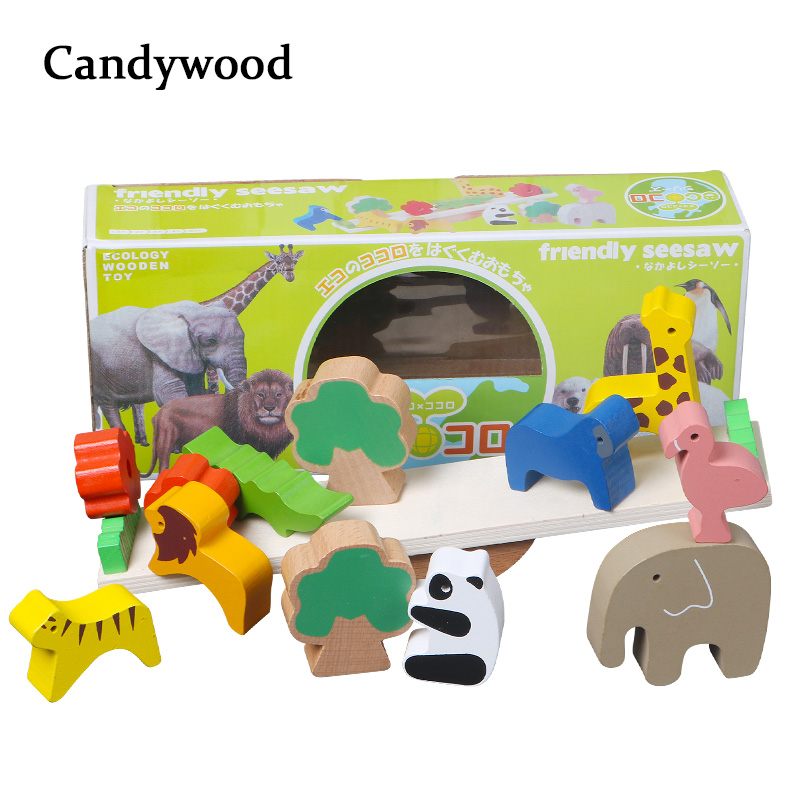 Wooden Toys Forest Animal Seesaw Wood Balance Blocks Wooden Jenga Blocks Educational Toys Children Learning Game Toy For Boys
