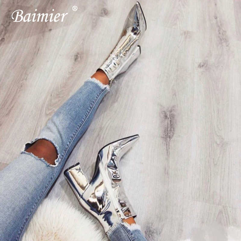 Baimier Bling Silver Gold Patent Leather Ankle Boots For Women 2018 Fashion Street Style Winter Boots Women Warm Fur Shoes Woman