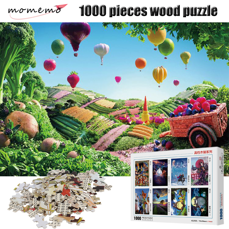 MOMEMO Fruits Fire Balloon Puzzles 1000 Pieces Adult Puzzles Wooden Jigsaw Puzzle 1000 Pieces Toys for Children with Box Packing
