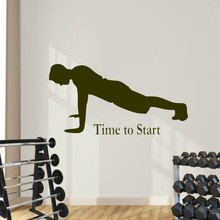 Vinyl Exercise Man Art Wall Sticker Gym Sport Time To Start Quote Wall Decal Home Bedroom Art Decoration Wall Mural Y-540 цена 2017