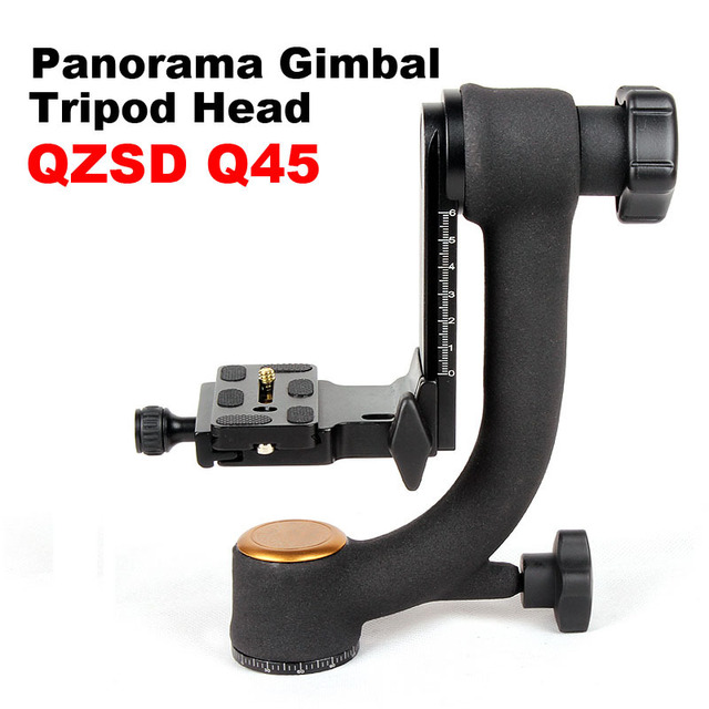 Qzsd Q45 profissional graus Panorama Gimbal tripé cabeça de pássaro - balanço prato de liberação rápida para DSLR câmera de vídeo lente