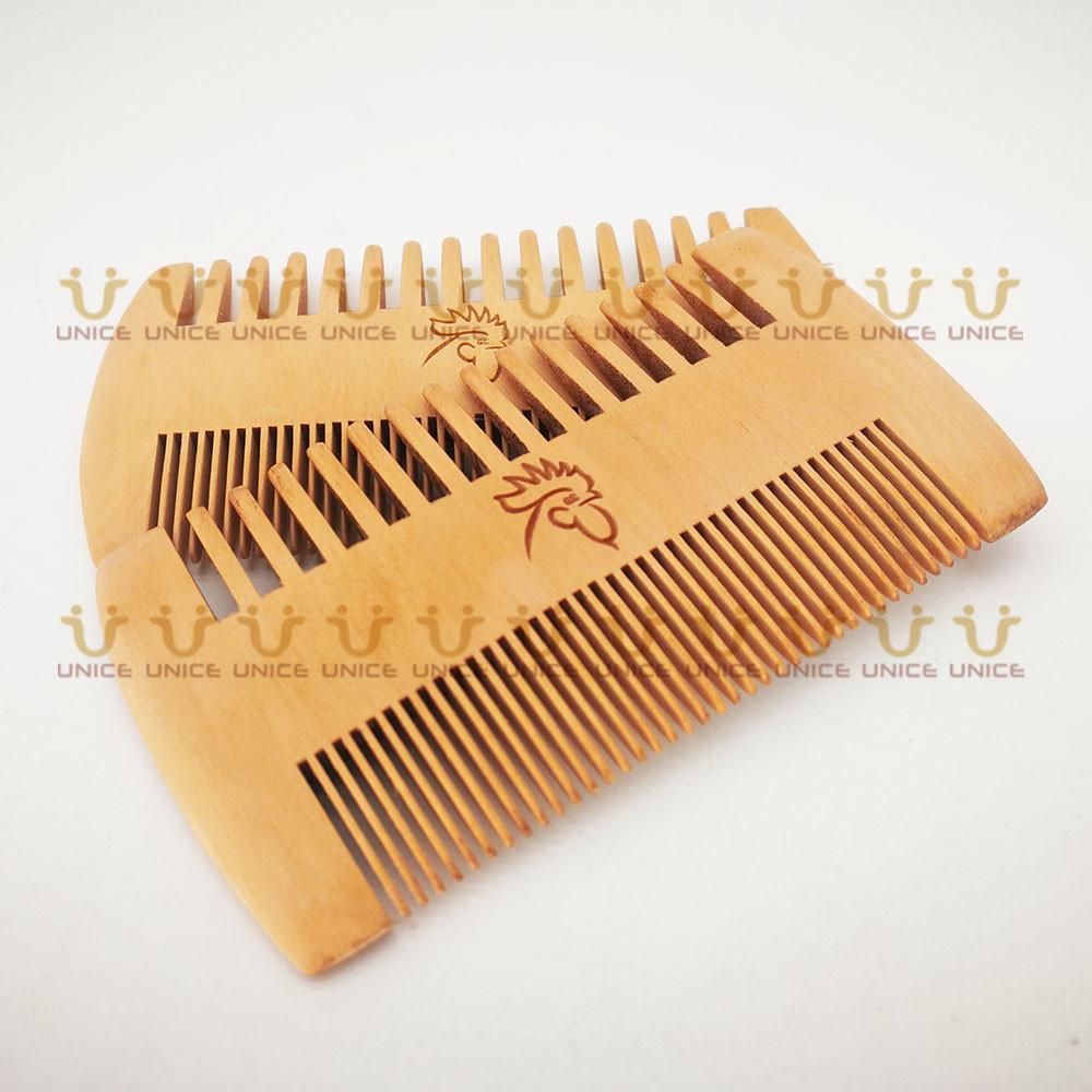 Купить с кэшбэком 50pcs/lot Amazon Ebay Hot Sale Fine & Coarse Teeth Double Sides Wood Combs Custom LOGO Wooden Hair Comb Dual Sided Beard Comb