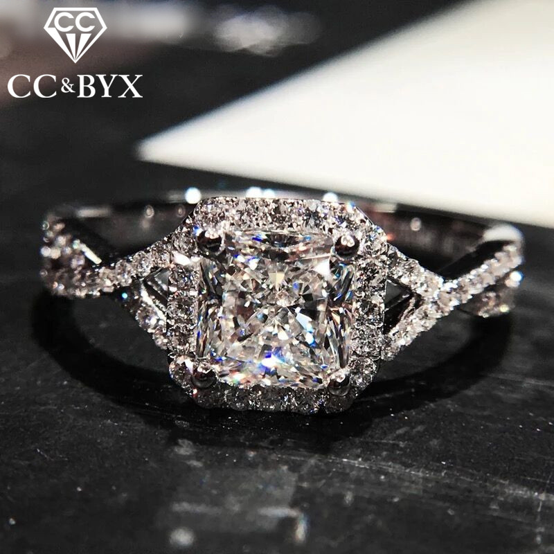 CC Fashion Jewelry 925 Silver Rings For Women Engagement  White Gold Color Wedding Ring Luxury Gift Chic Accessories CC586