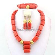Erstaunlich! 2019 Coral Hochzeit Schmuck Set Afrikanische Modeschmuck Korallen Perlen Schmuck Sets Halskette Armband Clip Ohrringe HD0404