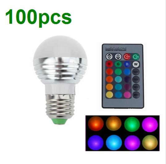 100pcs 3W RGB E27 16 Colors LED Light Bulb Lamp Spotlight AC85-265V + IR Remote Control DHL+EMS jr led e27 10w 500lm led rgb light bulb w remote control white silver ac 85 265v