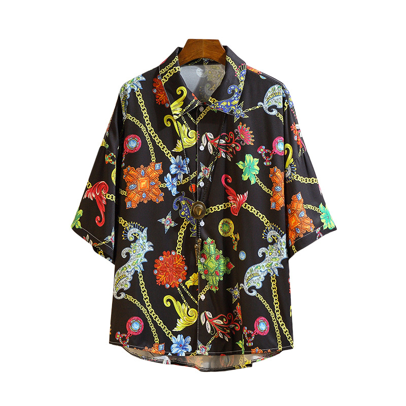 Summer Men Shirts Loose Shoulder Men Beach Flower Men's Shirts Short Sleeve Male Casual Shirt