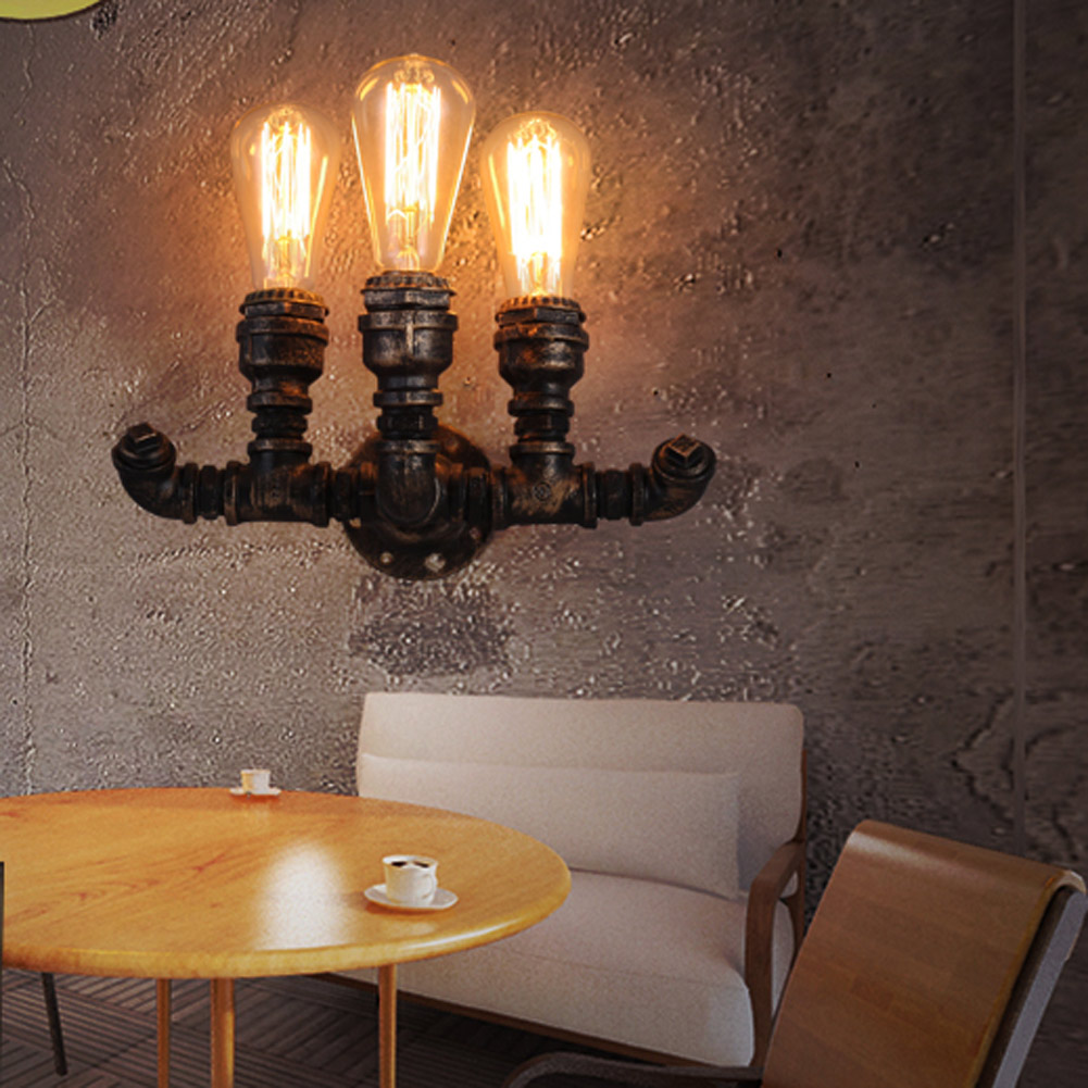 3 Heads Bulb Industrial Loft Iron Rust Water Pipe Retro Wall Lamp Vintage E27 Sconce Light For Bedroom Restaurant Bar luminaire e27 vintage industrial wall lamp loft creative sconce balcony stair porch restaurant bar bedroom decoration home light with bulb