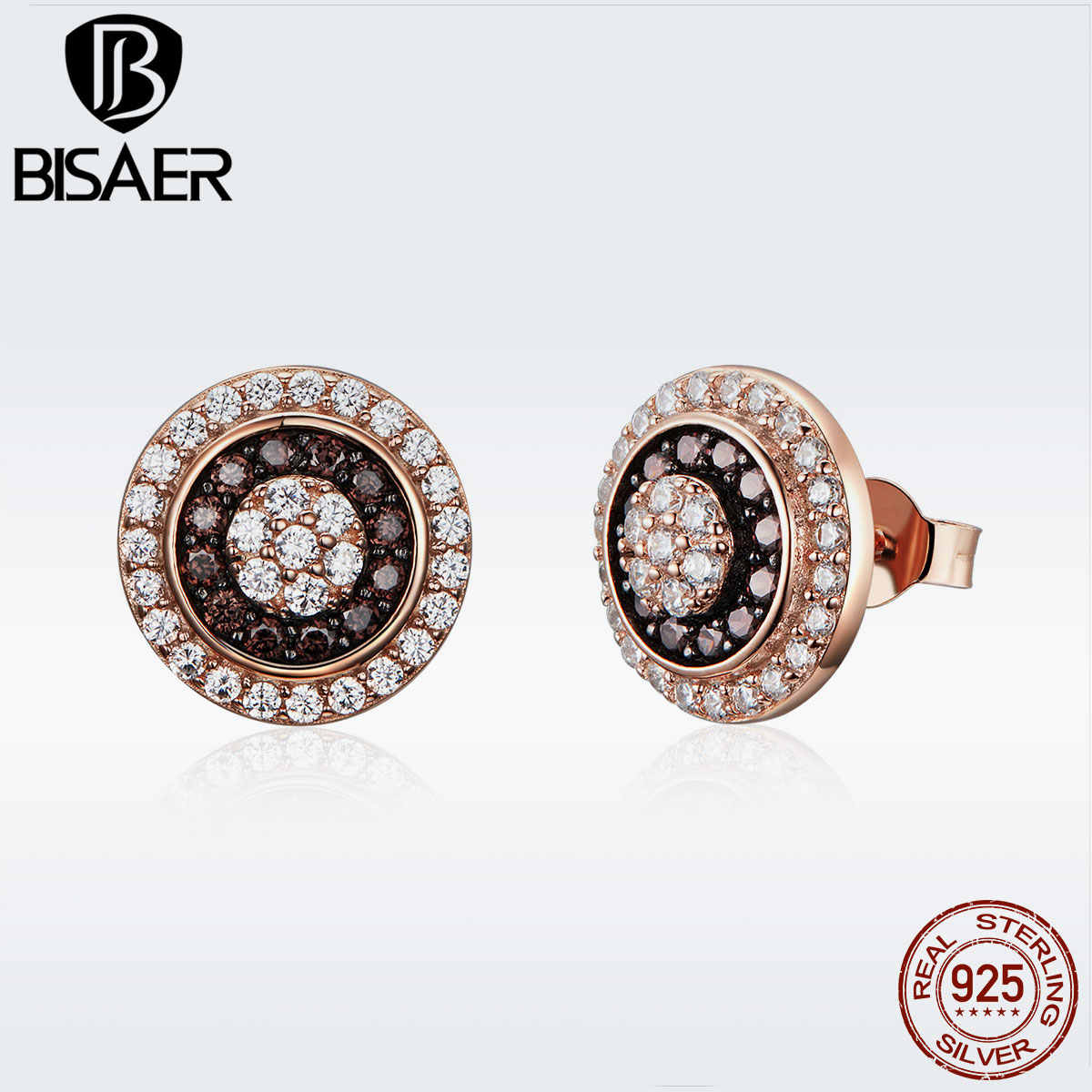 BISAER 925 Sterling Silver Gold Color Round Eye Stud Earrings for Women Vintage Fashion Jewelry Brincos Statement Jewelry GXE509