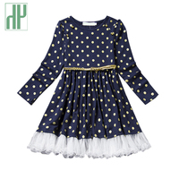 Kids Dresses For Girls Long Sleeve Dress For Princess Costumes Girls Polka Dot Pattern School Casual