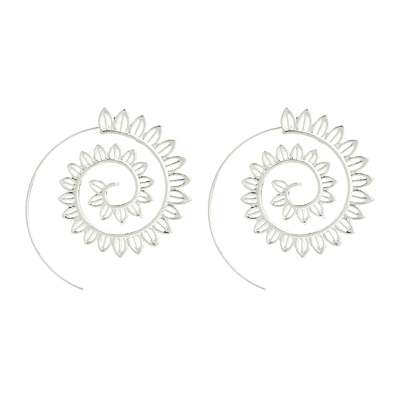 Tocona Punk Hollow Out Spiral Drop Earrings Women Gold Sliver Color Circle Leaves Piercing Dnagle Earrings