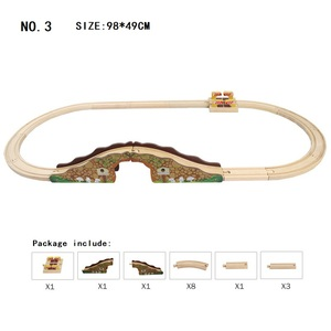 Image 3 - Juego de vías de madera para tren de juguete, accesorios de vías de tren de madera, rieles de madera de expansión, trenes, juguetes de carretera para niños, Dropshipping