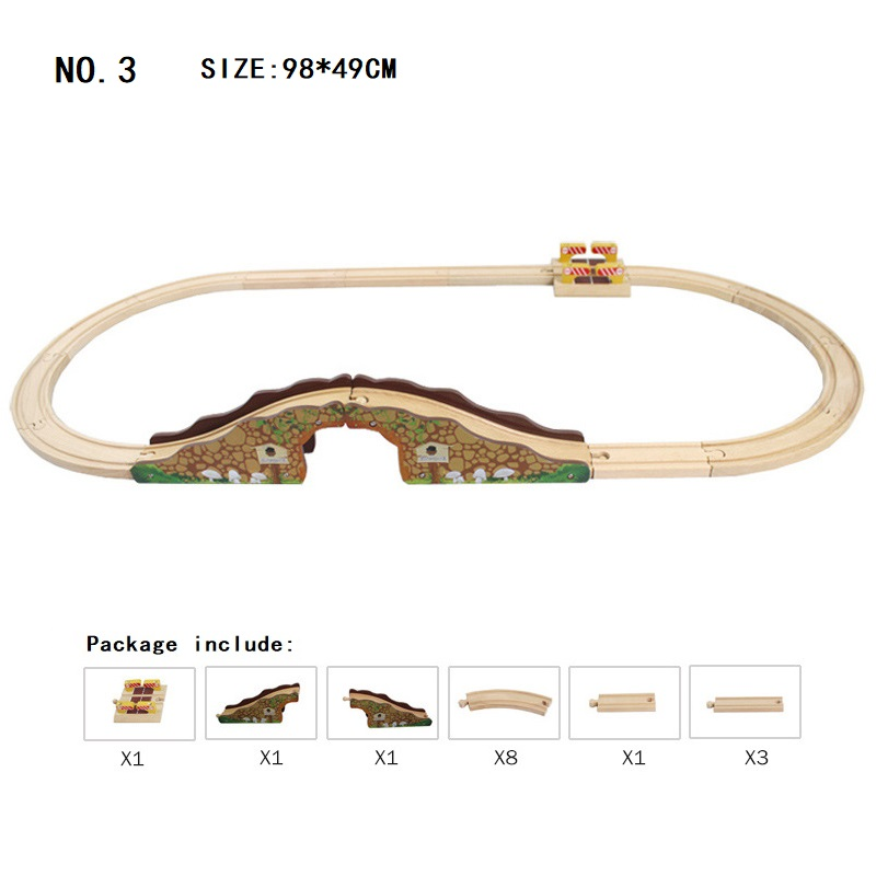 Image 3 - Wood Track Set Railway Toy Wooden Train Track Accessories   Expansion Wooden Track Rails Trains Road Toys for Child Dropshipping-in Diecasts & Toy Vehicles from Toys & Hobbies