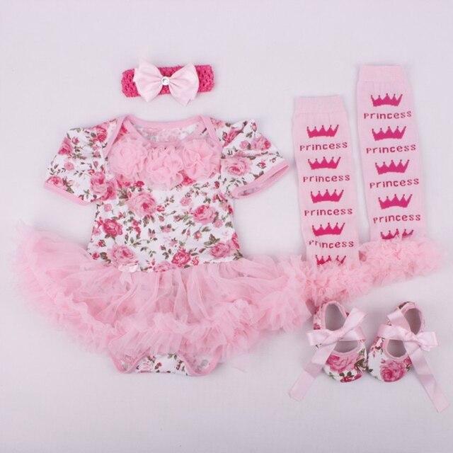 7561296b7 Flower Girl Dresses Tutu Lace Romper Legwarmers Shoes Headband 4pcs ...