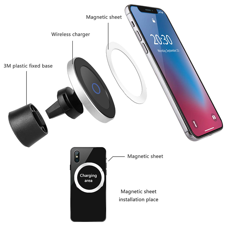 Qi Wireless Car Charger for iPhone XsXsMaxXr8plus Magnetic Phone Holder 10W Fast Car Wireless Charger for Samsung S9 S8 Note9 (2)