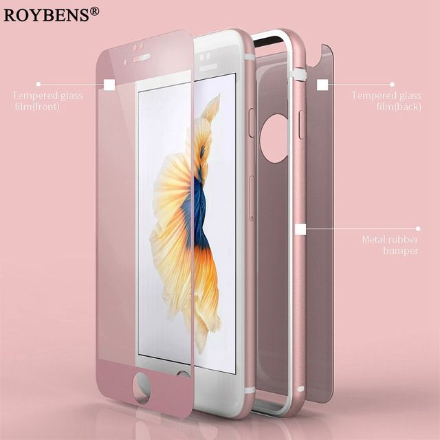 For IPhone 6 Case Luxury Rose Gold TPU Metal Bumpers Back Front Glass Film 360