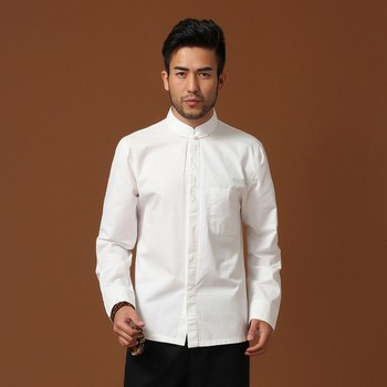 White Cotton Long Sleeve Men's Shirt
