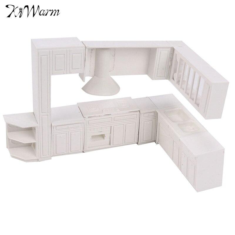 Kiwarm 16 Stücke Weiß Miniatur Puppenhaus Küchenmöbel Schrank Schrank  Schrank Satz Für Kinder Spielen Spielzeug Kinder